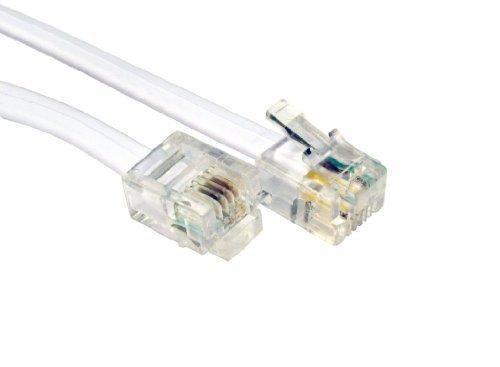 Connect Breitband-router (World of Data (RJ11Stecker auf RJ11Stecker BT Breitband Kabel ADSL Modem Router führen weiß 1 m)