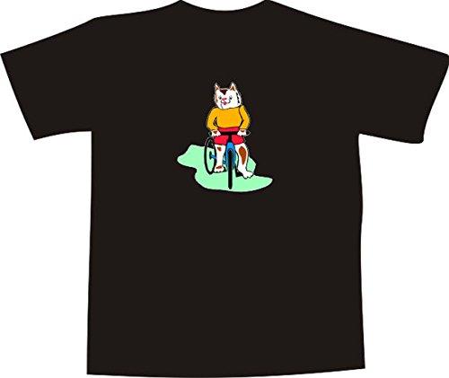 T-Shirt E839 Schönes T-Shirt mit farbigem Brustaufdruck - Logo / Grafik - Comic Design - Katze fährt Fahrrad Weiß
