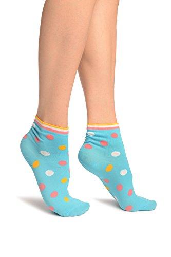 Blue With Rainbow Polka Dot Ankle High Socks - Blau Socken Einheitsgroesse (37-42) -