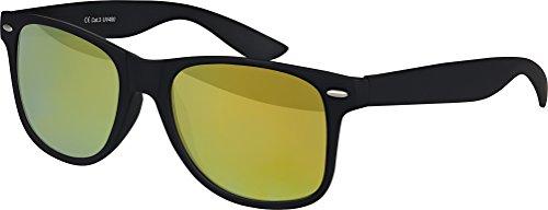 Original Balinco UV400 CAT 3 CE Vintage Unisex Retro Wayfarer Sonnenbrille - verschiedene Farben in Einzel - Doppelpack & Dreierpack wählbar (Einzelpack - Rahmen: Schwarz Matt, Gläser: Gelb verspiegelt)