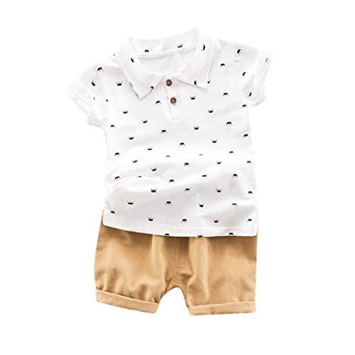 Zylione Jungen Kleidung Set Kinder Baby Kurzarm Krone Bart Print Shirt T-Shirt + einfarbige Shorts Zweiteiler Kindertagesanzug