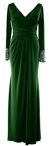 MACloth Women Long Sleeves V Neck Jersey Maxi Formal Evening Gown MOB Dress Dark Green
