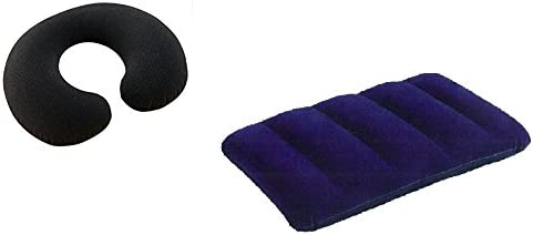 Inflatable Velvet Soft Air Pillow (Blue) + Neck Travel Pillow (Black) for Car, Train, Flight, Bus, Family Tour