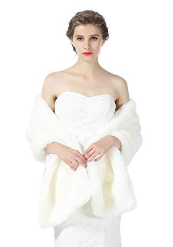 BEAUTELICATE Pelzimitat Schal Stola Bolero Damen Für Hochzeit Braut Brautjungfer Abendkleid Weihnachten Halloween Winter, Elfenbein, Einheitsgröße