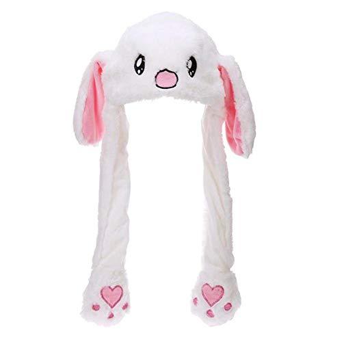 CAOLATOR Lustig Kaninchen Hut mit Beweglichen Ohren Mütze Mädchen Winter Plüsch Tier Ohr Hut Toller Spaß beweglichen Bunny Ohren Tiermütze Spielzeug Weiß (Tier-ohren Winter Mütze Mit)