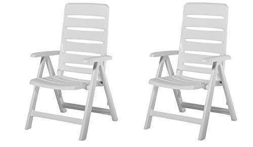 2 Kettler Gartenstuhl Multipositionssessel Nizza klappbar aus Kunststoff in weiß