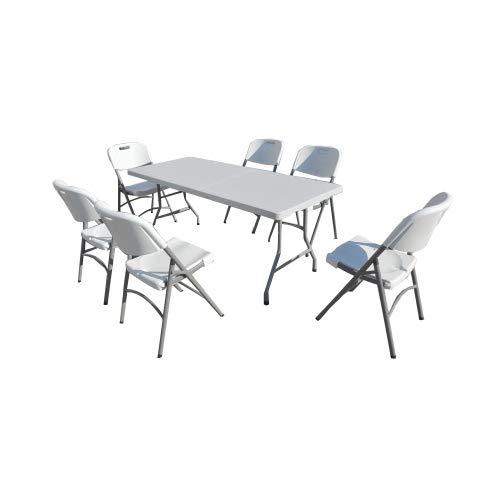 Lot de réception Table Plateau uni 180cm et 6 chaises Pliantes