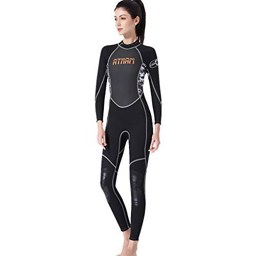 MOTOCO Damen Ganzkörperansicht Badeanzug Overall Wetsuit Surfanzug Lange Ärmel Tauchanzug - Strand Watersport UV Schutz Schwimmanzug (XL,Schwarz)