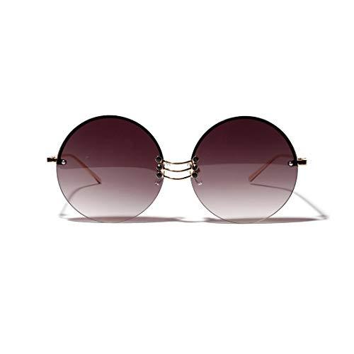 Yiph-Sunglass Sonnenbrillen Mode Runde Retro-Sonnenbrille, randlose Brille aus Metall, Unisex. (Farbe : Grau)