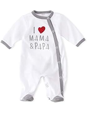 Baby Sweets Baby Schlafanzug Strampler weiß grau | Motiv: I Love Mama & Papa | Babystrampler mit Herzmotiv für...