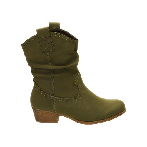 King Of Shoes Damen Stiefeletten Cowboy Western Stiefel Boots Schlupfstiefel Schuhe 36-2 Grün
