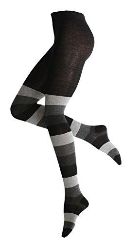 Vincent Creation Caldo e alla moda donna in cotone Calzamaglie con blocco a righe (36/38, grigio-nero-antracite)