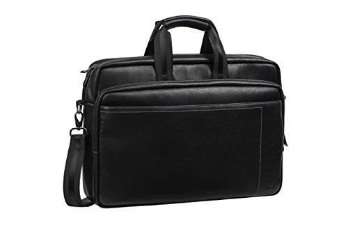"""RIVACASE Tasche für Laptops bis 16"""" – Stilvolle PU-Leder Reisetasche mit gepolsterten Seiten und Trolley Befestigung - Schwarz (Leder Trolley-case)"""