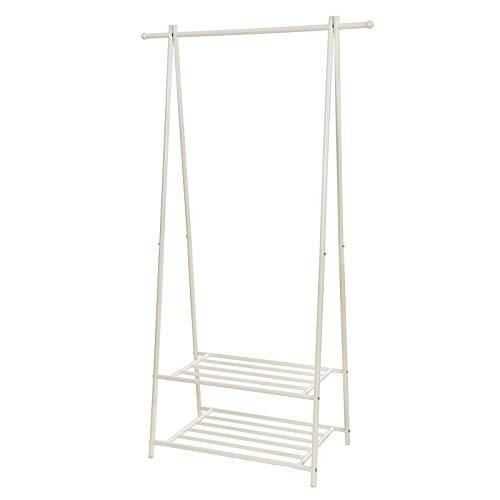 SONGMICS Iron Coat Rack for Clothing Zapatero with 2 shelves 87,5 x 41 x 155 cm White Cream HSR05W