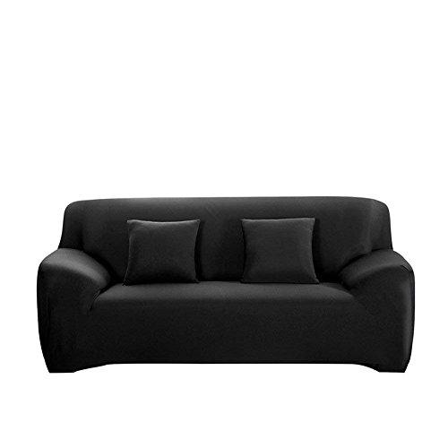 Forcheer fodera per divano copridivano elasticizzato copertine poliestere poltrona t-cuscino sedia slipcover divano copertura protector (2 posti, nero)