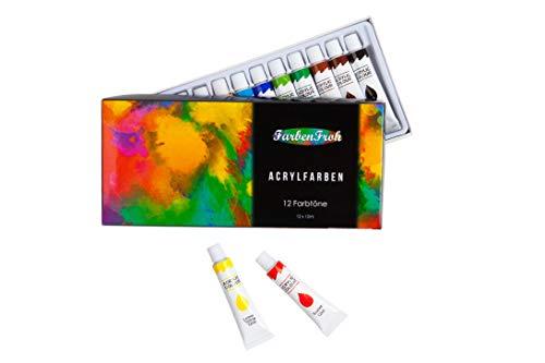 FarbenFroh Acrylfarben Set bestehend aus 12 Farbtönen | Ideal für Kinder & Erwachsene, Einsteiger & Fortgeschrittene | Geeignet zum Malen auf sämtlichen Oberflächen