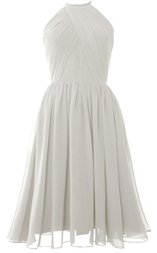 MACLoth Women Halter Chiffon Cocktail Dress Short Bridesmaid Gown with Open Back Ivoire