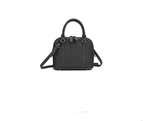 Nuova versione coreana del sacchetto guscio solido tessuti a mano, a spalla, borse messaggero, borse da donna black