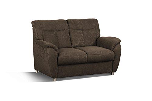 CAVADORE 2er Sofa Sunuma / 2-Sitzer Couch mit Federkern passend zur Polstergarnitur Sunuma/Modernes Design/Größe: 140 x 91 x 90 cm (BxHxT) / Farbe: Dunkelbraun