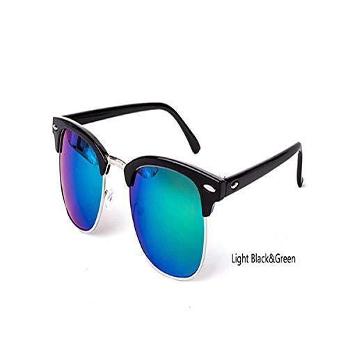Sportbrillen, Angeln Golfbrille,Vintage Semi-Rimless Brand Designer Sunglasses Women/Men Polarisiert UV400 Classic Oculos De Sol Gafas Retro Sun Glasses C7 LightBlack Green