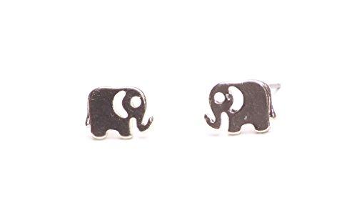 Süße Gold Ton Elefant Charm-Ohrringe Safari Thema (NS7) ()