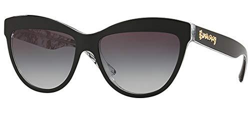 Burberry 0be4267 37138g 56, occhiali da sole donna, nero (top black/print doodle/transp/greygradient)