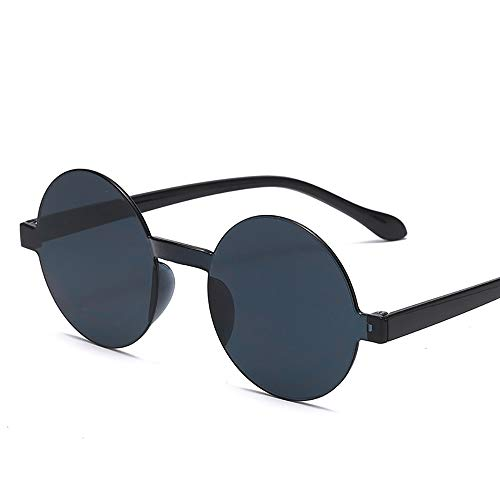 KDSANSO Sonnenbrille Hippie Runde Brille Randlos Retro Steampunk Stil Brillen, Schwarz