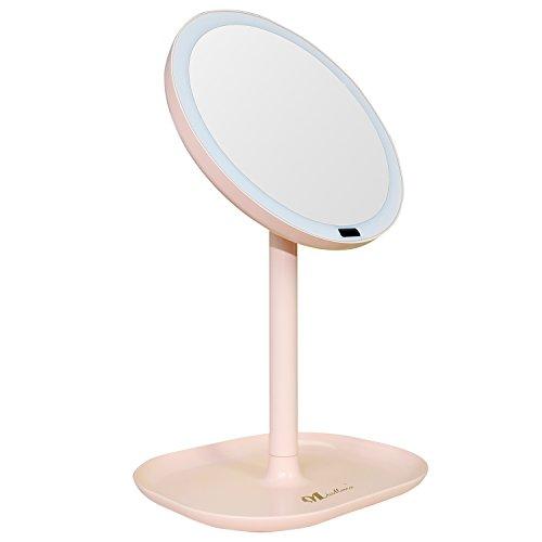 MissMeeca Espejo de Maquillaje con Sensor infrarojo Iluminado automáticamente 30 LEDs 360° de Rotación, aumento x7 (Rose)