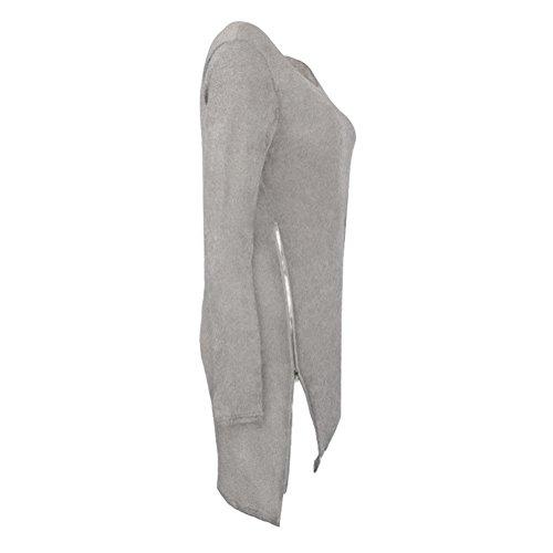 Femmes Automne Robe Hiver Manches Longues Cou Ronde Lâche Zip Tricoté Pull Cavalier Tops hibote Gris