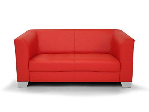 CHICAGO 2er Sofa / Ledersofa, rot - 2