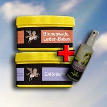 Preisvergleich Produktbild MegaSpar Set 1x 500ml Sattelseife mit Schwamm. 1 x 500ml Bienenwachs-Leder-Balsam. 1x 100ml Parisol StarFinish, 1 Reinigungstuch