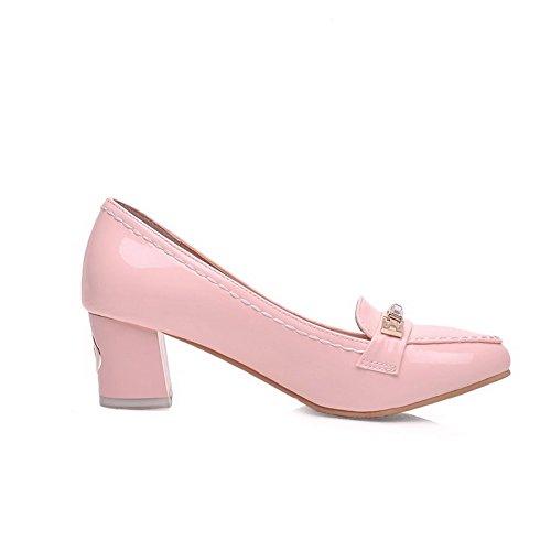 Odomolor Femme Chaussures Pointues Fermé Toe Talon Moyen Pure Pull Rose Ballet Chaussures