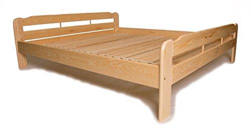 Doppelbett mit Lattenrost aus Kiefer massiv - 200x200 cm ✓ Leichter Aufbau ✓ Robuste Bauweise ✓ Massives Holz-Bett | Bettgestell optional mit Schubladen | Kieferbett, Naturholzbett aus Familienbetrieb
