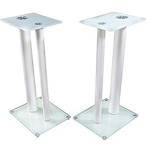 1 Paar Boxenständer V2L White-Line * Langversion * aus Glas/Alu mit Spikes, 2 Säulen, Kabelkanal integriert