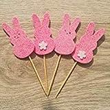 Ndier Pastel de Pascua Toppers 4Packs con Toppers De Estilo De Oreja De Conejo para Pascua, Fiesta de cumpleaños y decoración de Mariage-or Rosa Productos casa
