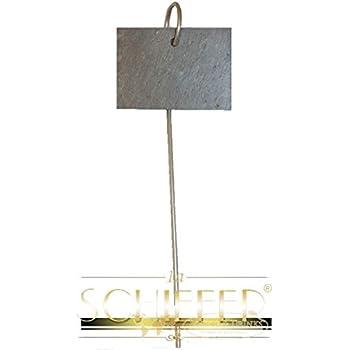 10er Set (Schnittkante) Schilder aus Schiefer mit Metallstab ca. 55 cm