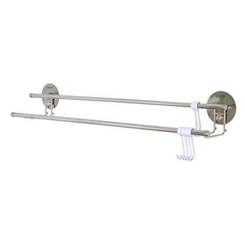 M-YN Handtuchhalter Wand Bad, Klebstoff Doppel-Handtuchhalter Edelstahl-Handtuchhalter 66 cm / 25,9 Zoll, Handtuchhalter Wand befestigter for Küche Bäder