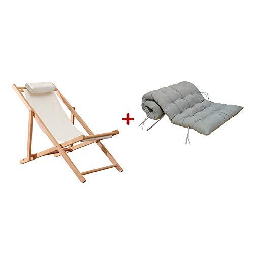 NPZ * Einfache graue Kissen abnehmbare Vier Jahreszeiten Universal Outdoor Klappstuhl tragbaren Stuhl Eukalyptus Kissen Liege nach Hause Balkon Stuhl Sonnenliege Strandkorb, 2 Stile Lounge-Sessel -