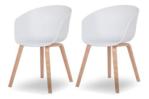 Esszimmer-Stuhl Nordin | 2er Set | Schalenstuhl mit Armlehnen | Kunststoff Weiß | Gestell Metall in Holz-Optik | Retro Design - Moderner Kunststoff-stuhl