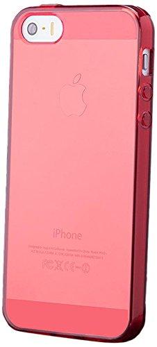 iCues Apple iPhone SE / 5S / 5 |  Transparent TPU Case Rosa | [Display Schutzfolie Inklusive] Transparent Klarsichthülle Durchsichtig Klare Klarsicht Silikon Gel Schutzhülle Hülle Cover Schutz Red