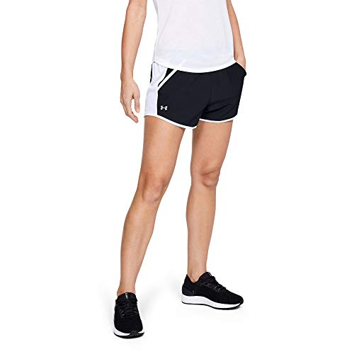 Under Armour Damen Fly by Running Shorts, Damen, Women's Fly-by Shorts, Black (001)/Reflective, XX-Large -