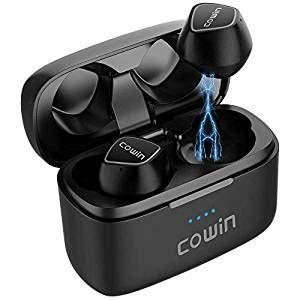 cowin KY02 Oreillettes Bluetooth 5.0 Ecouteurs Sans Fil Casque Intra-auriculaire Micro Intégré avec Boîte de Charge Appels Stéréo Contrôle Ultra-tactile des Basses 35H de Lecture-Noir