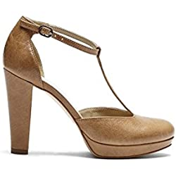 PoiLei Bonnie - Damen Schuhe / T-Strap Pumps mit Blockabsatz beige
