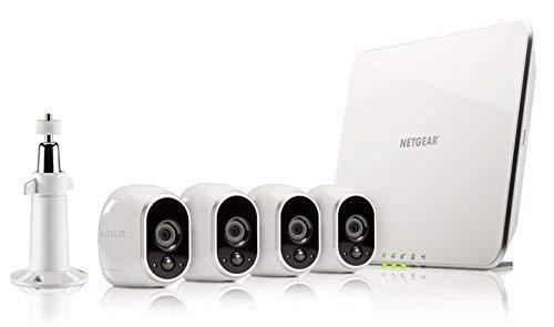 Arlo VMS3430 Sistema di Videosorveglianza Wifi con Quattro Telecamere di Sicurezza senza Fili a Batteria, Hd, Visione Notturna, Interno/Esterno, App Android & Ios, Funziona con Alexa e Google Wifi