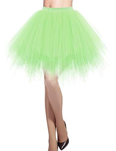 DRESSTELLS Damen Tüllrock 50er Rockabilly Petticoat Tutu Unterrock Kurz Ballett Tanzkleid Ballkleid Abendkleid Gelegenheit Zubehör Mint M -