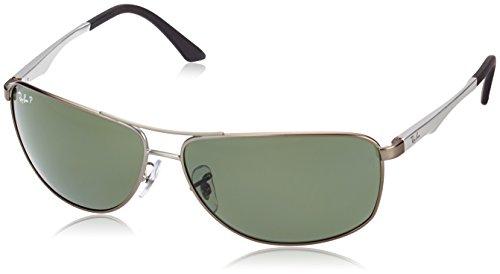 Ray-Ban Herren Sonnenbrille Rb 3506, Matte Gunmetal/Green Polarized, One Size (Herstellergröße: 64)