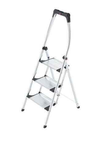 Hailo K100 TopLine Komfort-Trittleiter, 3 Stufen, hoher Sicherheitshaltebügel, Füße mit Soft-Grip-Sohlen, belastbar bis 150 kg, silber, 4303-301