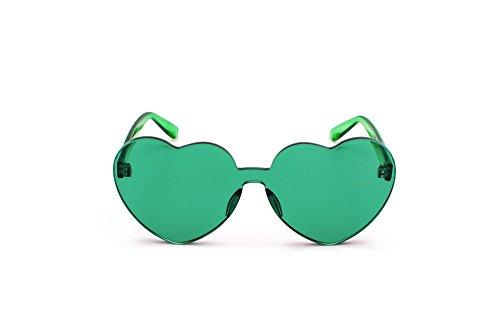DESESHENME Sonnenbrille Frauen Liebe Herz randlose Rahmen klar transparent Tönung Sonnenbrille Vintage Brille, Grün