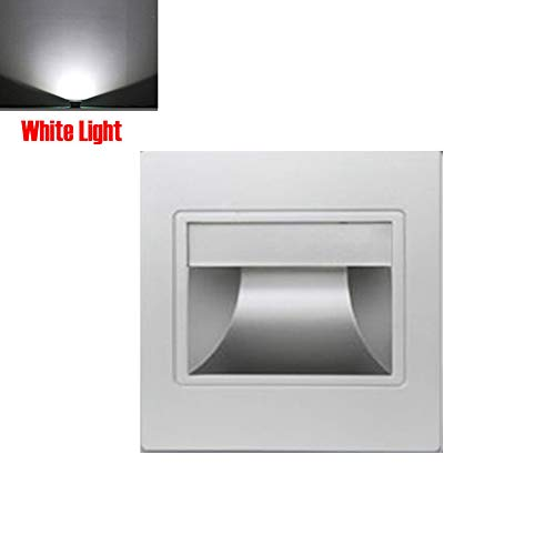 185-265V 1.5W LED Indoor Outdoor Step Light,3000-6500K Warm White Light,Stair Light,White, Black, Champagne Gold, Silver Finish with 86 Type Bottom Box(Silver,Warm Light) -