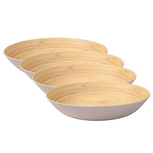 BIOZOYG Ensemble Vaisselle écologique Profonds Plats I 4 pièces Bambou Assiette Grande Gris I Assiette dîner sans BPA I Assiette Enfants Assiette à Soupe Assiette à Salade